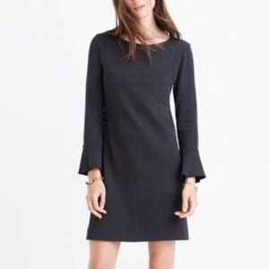 Madewell Knit Jersey Charcoal Long Sleeve Dress